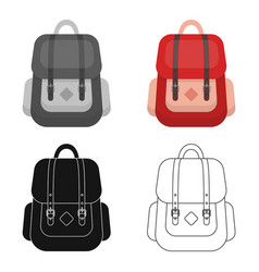 Hipster backpack icon in cartoon style isolated on vector