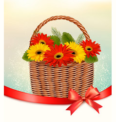 holiday easter background with colorful flowers vector image