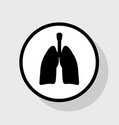 human anatomy lungs sign flat black icon vector image