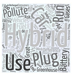 Hybrid Cars vs Plug in Hybrid Cars Word Cloud vector image