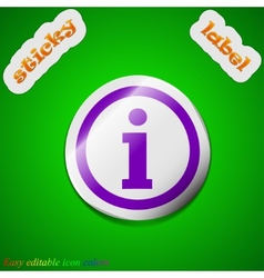 Information icon sign Symbol chic colored sticky vector image