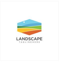 landscape logo for lawn or gardening business vector image