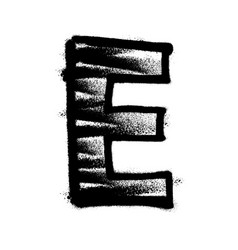 letter e graffiti alphabet with spray lines and vector image