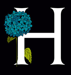 letter h with hydrangea flower vector image