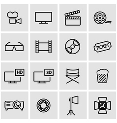 line cinema icon set vector image