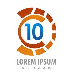 logo concept design rotate number 10 symbol vector image