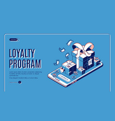 Loyalty program isometric web banner gift boxes vector