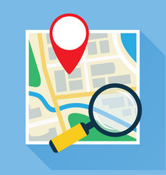 Magnifier over navigational map flat icon vector