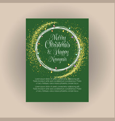 merry christmas and happy new year glowing green vector image