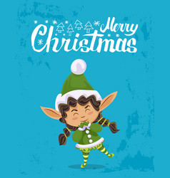 merry christmas elf greeting with xmas holiday vector image