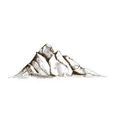 mountain peak top or summit hand drawn with vector image