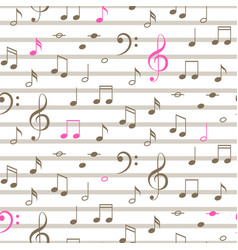 music notes seamless stripe pattern vector image