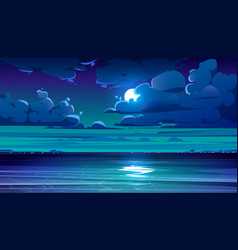 night sea landscape with coastline and moon in sky vector image