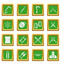 Ninja tools icons set green vector