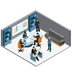 Office work isometric composition vector