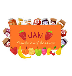 orange jam with fresh fruits and berry jam vector image