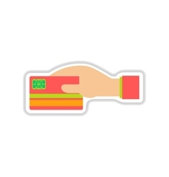 Paper sticker on white background bank card hand vector