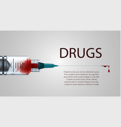 plastic medical syringe with needle and blood vector image