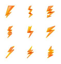 Powerful lightning bolt icon set cartoon style vector
