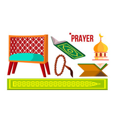 Prayer muslim items koran rosary mosque vector