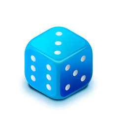 Realistic blue casino dice in isometric view vector