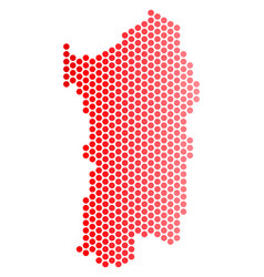 red dotted italian sardinia island map vector image