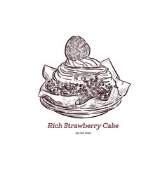 rich strawberry cake hand draw sketch vector image