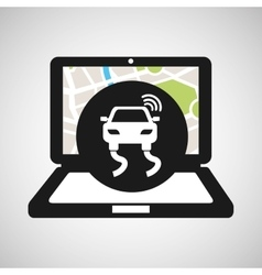 Road travel laptop map gps vector