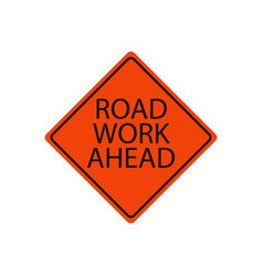 road work ahead sign isolated on white vector image