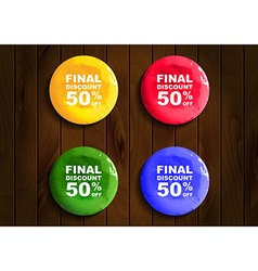 round discount banners paint on wooden background vector image