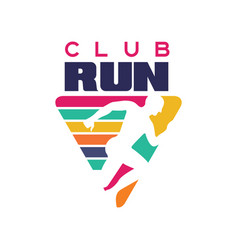Run club logo template label for sports club vector