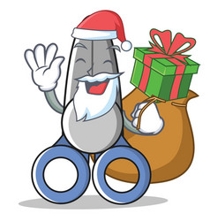 Santa with gift scissor character cartoon style vector