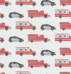 Seamless pattern of the fire engine ambulance and vector