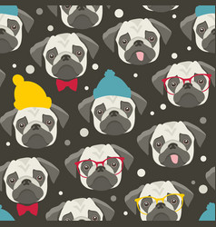 Seamless pattern with cute pugs faces vector