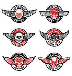 Set biker club emblems templates skull vector