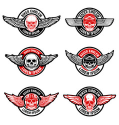 Set of biker club emblems templates skull with vector