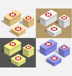 set of boxes of different sizes with medecine vector image