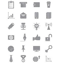 Set of gray business icons vector