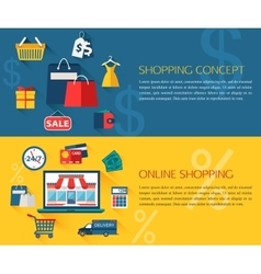 set shopping and online shopping concept vector image