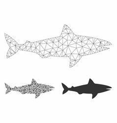 Shark mesh wire frame model and triangle vector