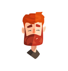 Skeptical redhead bearded man male emotional face vector