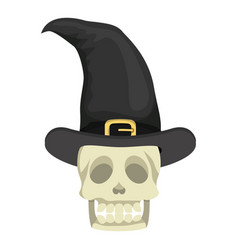 Skull head with witch hat halloween vector