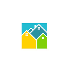 square house colorful logo vector image