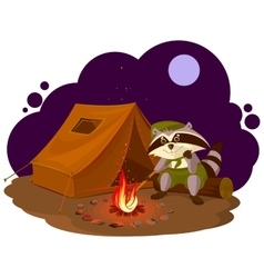Summer holiday camp Scout raccoon sitting around vector image vector image