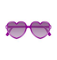 Sun glasses in shape of heart in purple design vector
