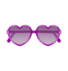 Sun glasses in shape of heart in purple design vector