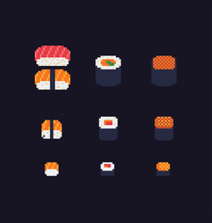 sushi and rolls pixel art icons set vector image