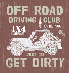 t-shirt design offroad driving club with suv car vector image vector image