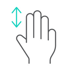 three fingers vertical scroll thin line icon vector image