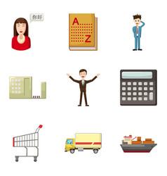 Thrift-box icons set cartoon style vector